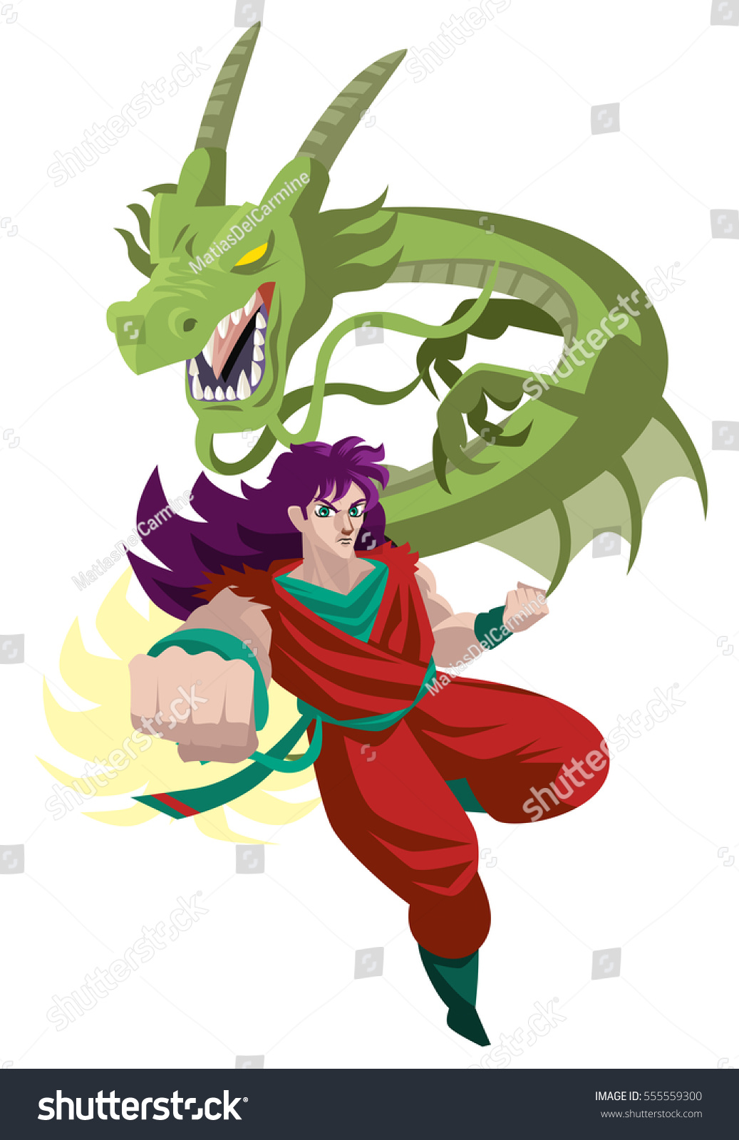 Anime Japanese Martial Arts Warrior Hero With Powerful Dragon