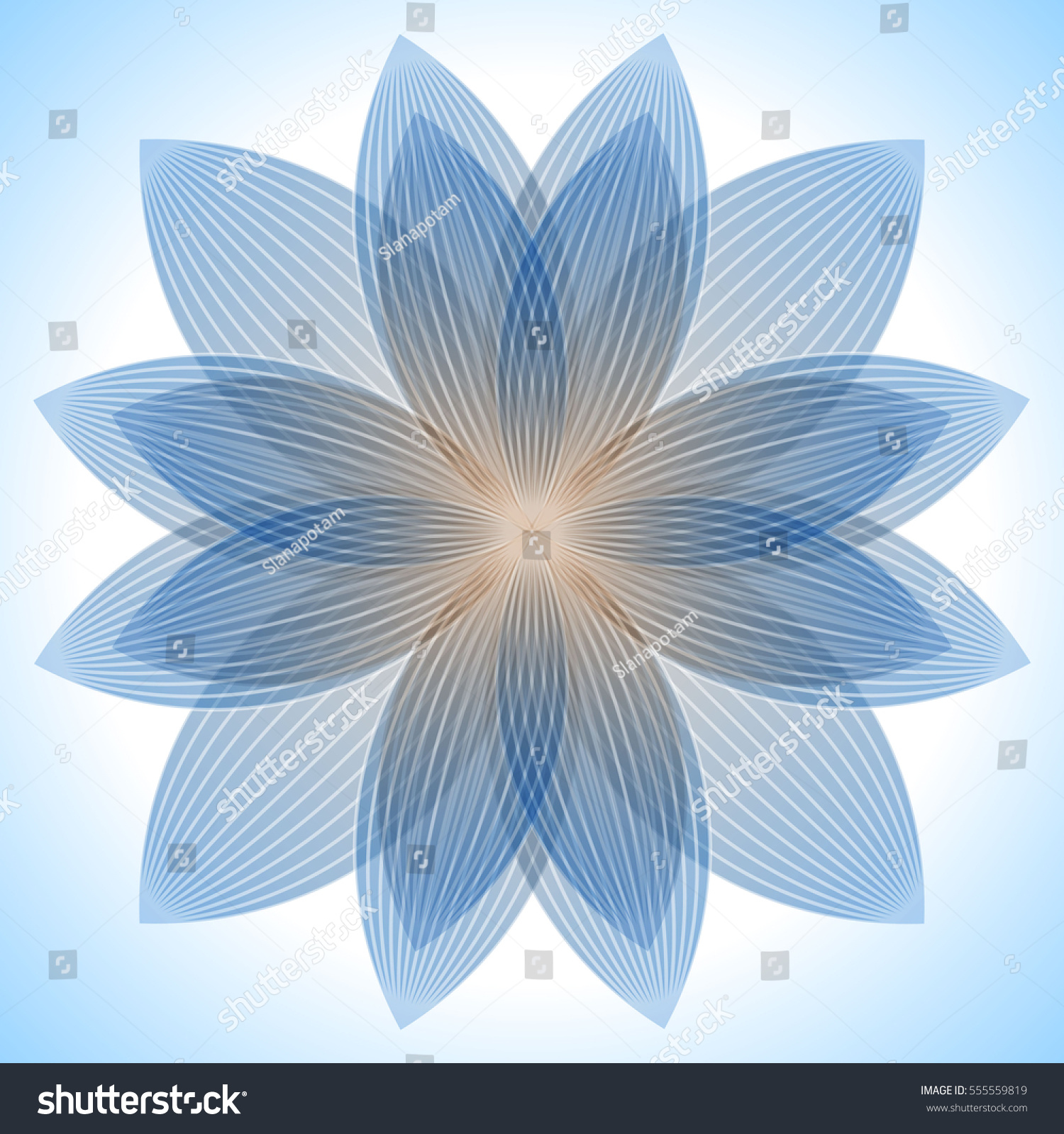 Abstract Blue Lotus Flower Abstract Blue Stock Vector Royalty Free