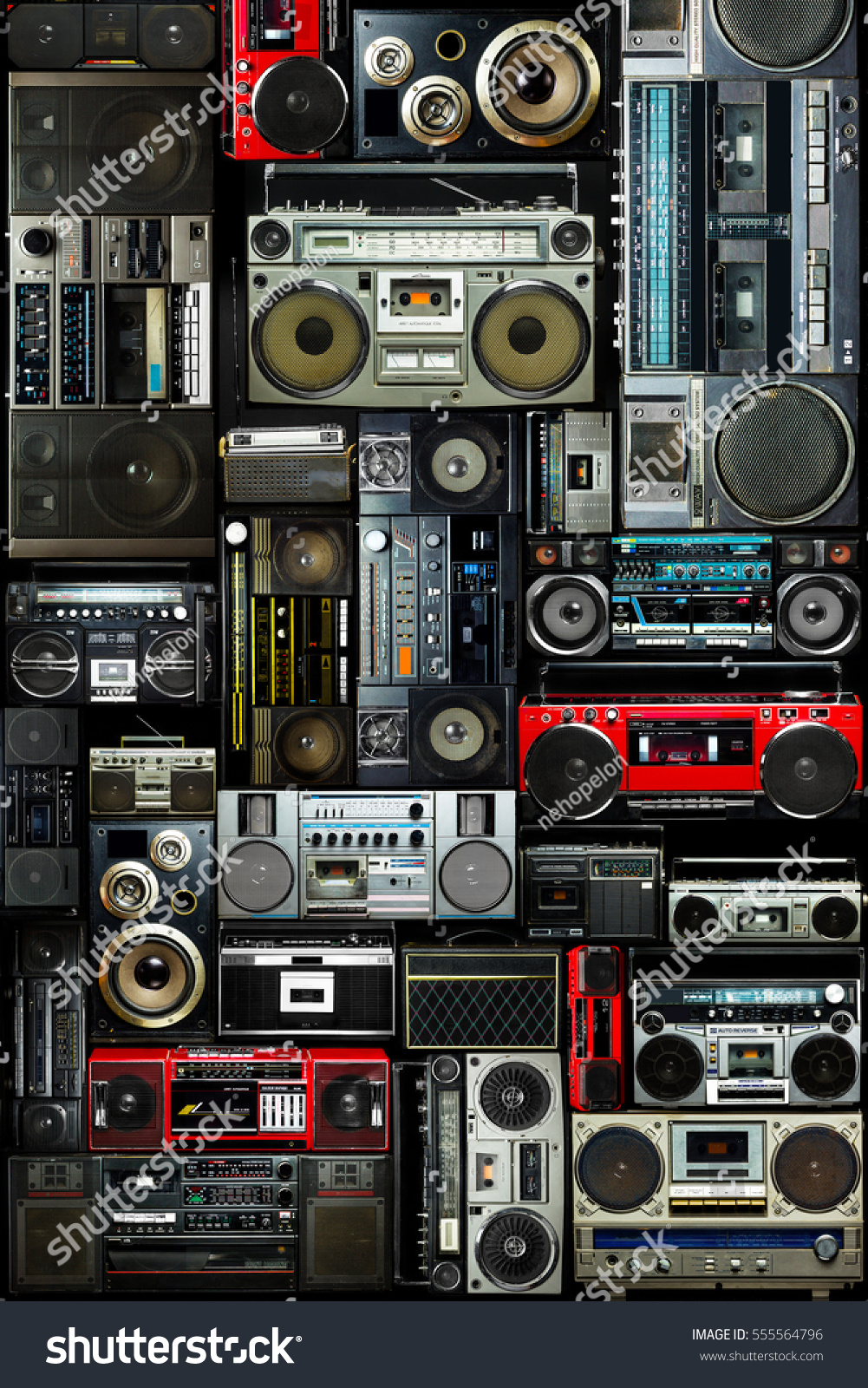 Vintage wall full of radio boombox of the 80s #555564796