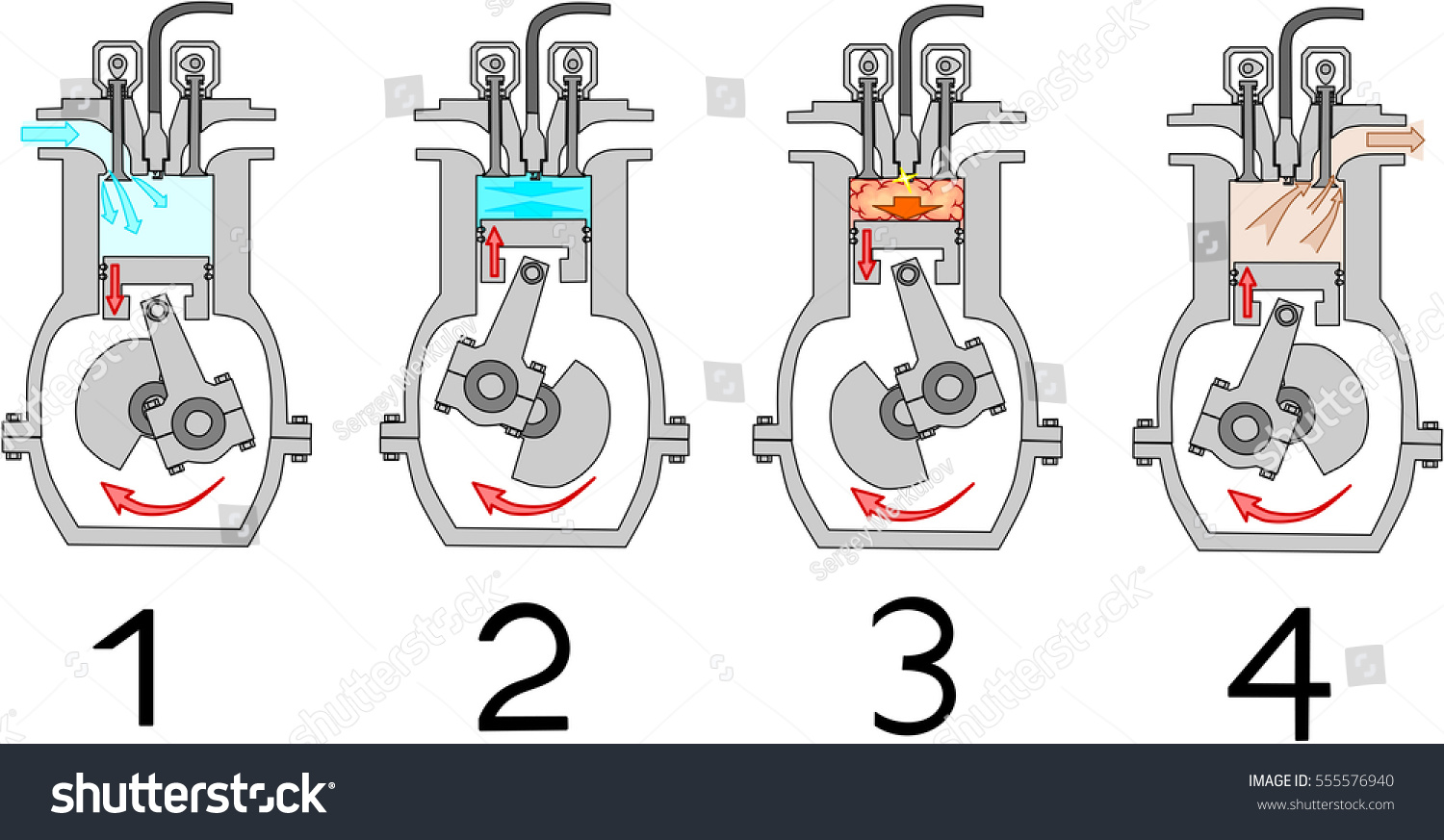 4 Stroke Internal Combustion Engine Diagram Stock Vector 555576940 ...