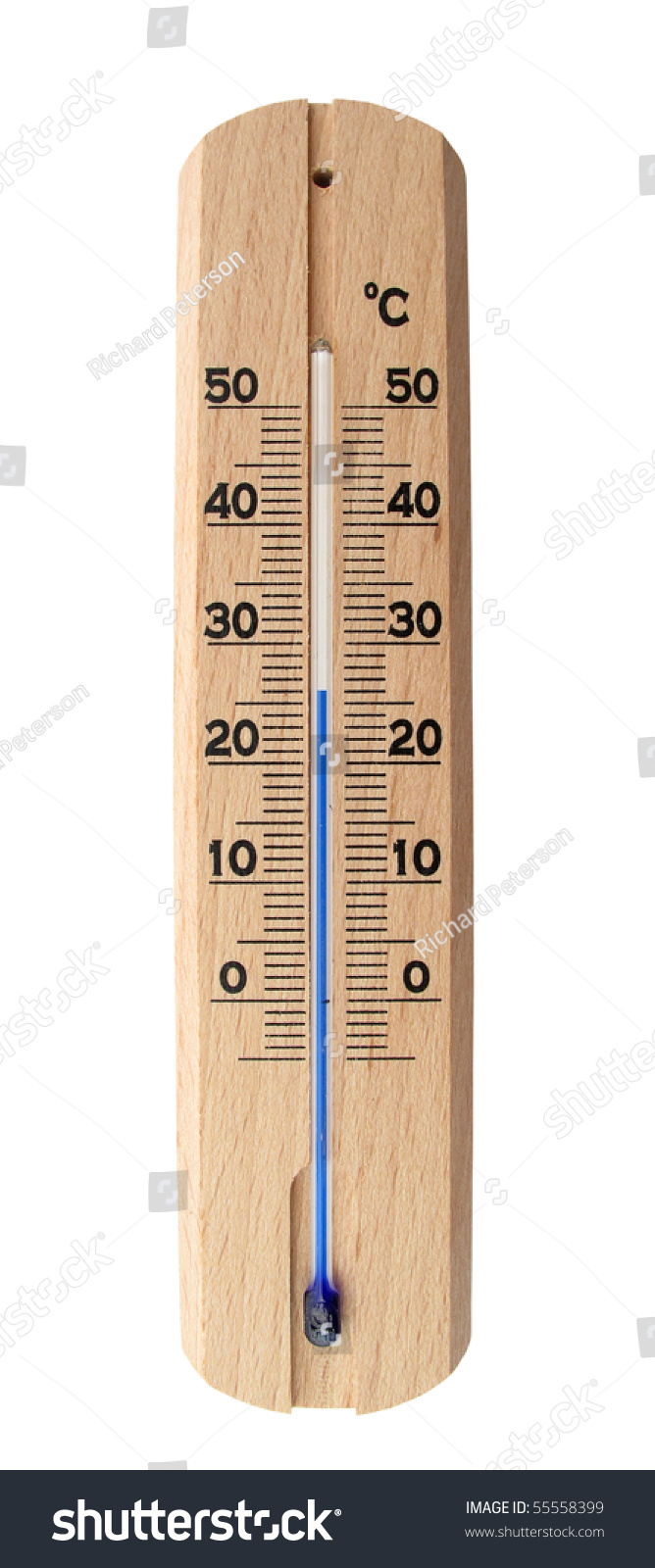 Heat Measuring Instruments : Thermometer wooden measuring instrument for temperature