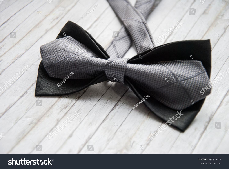Bow Tie Gray Black On Wooden Stock Photo 555624211 ...