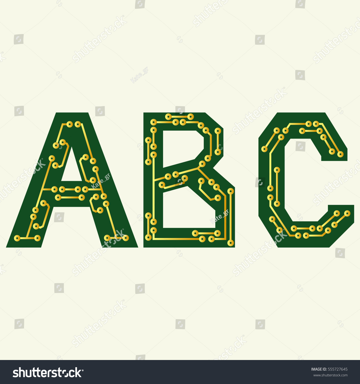 Enjoyable Electronic Alphabet Letters Abc Circuit Board Stock Vector Royalty Wiring 101 Breceaxxcnl