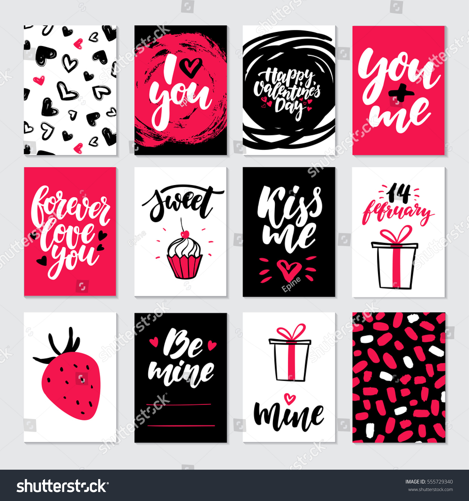 Love Quotes For Valentines Day Cards Valentines Day Gift Card Vector Set Stock Vector 555729340