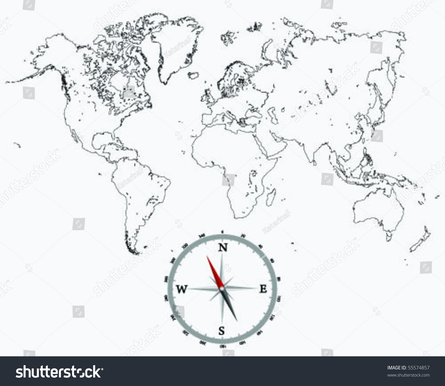 detailed world map outlines and compass stock vector illustration 55574857   shutterstock