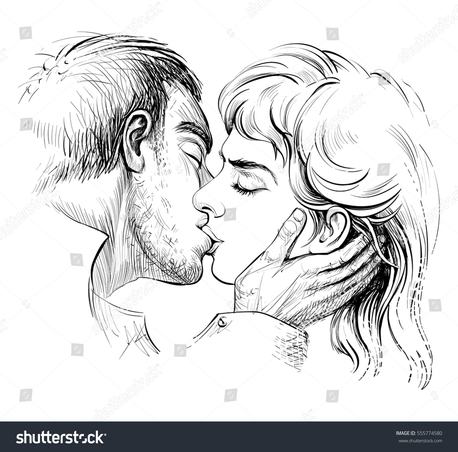 Kissing couple in love black and white hand drawn sketch romantic scene with man