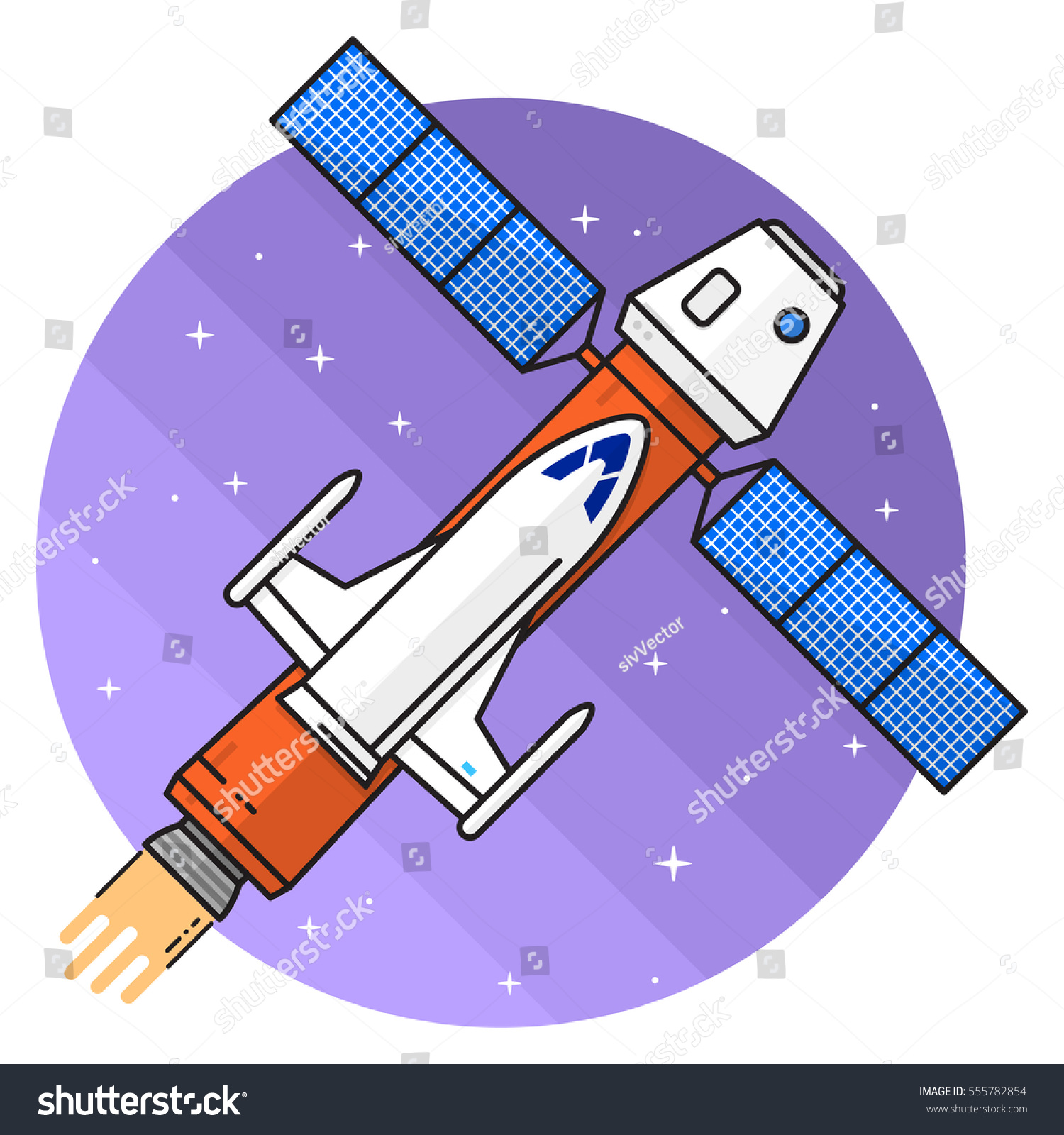 Space Ship Flying Space On White Stock Vector 555782854 ...