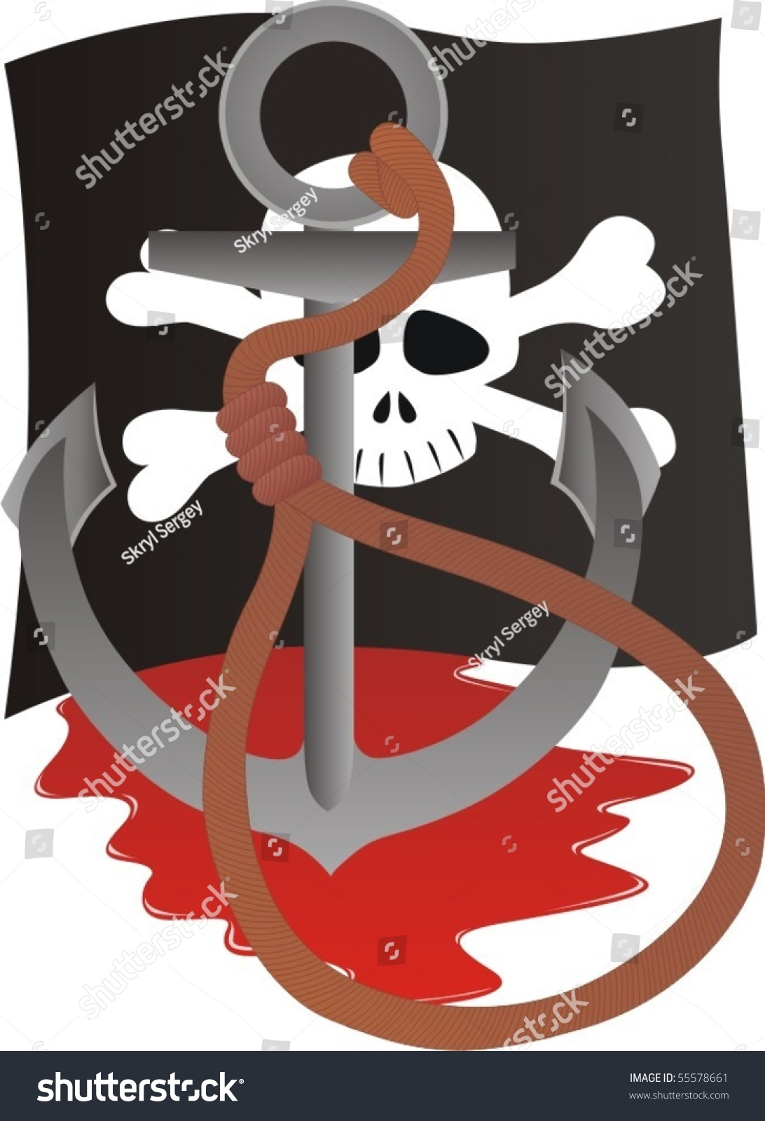 Pirate Flag Depicting Pirate Symbols Anchor Stock Vector Royalty