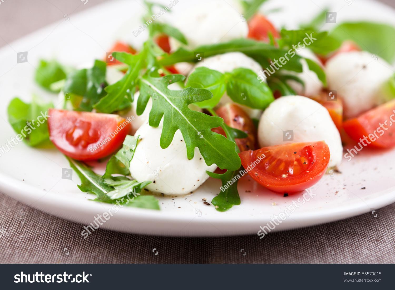 Mozzarella Salad With Cherry Tomatoes,Arugula And Basil ...