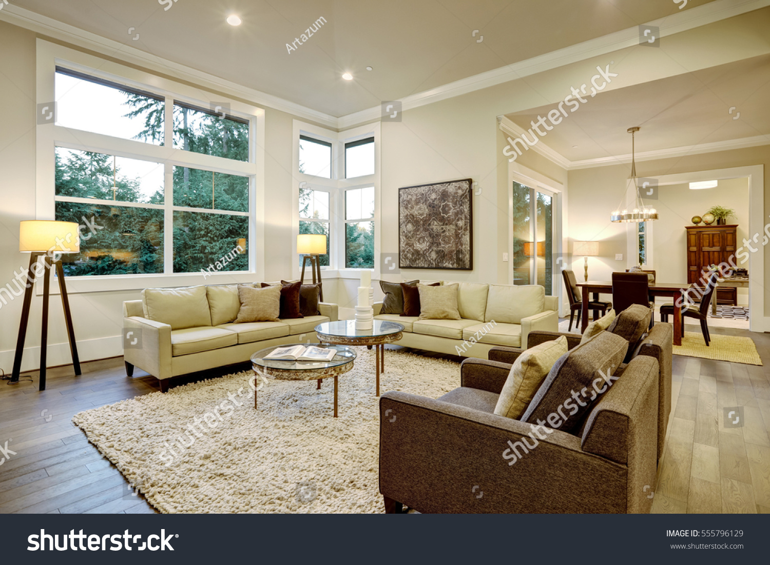 Chic Light Living Room Design With Dark Floors. Furnished With Glass Top Accent  Tables And Part 76
