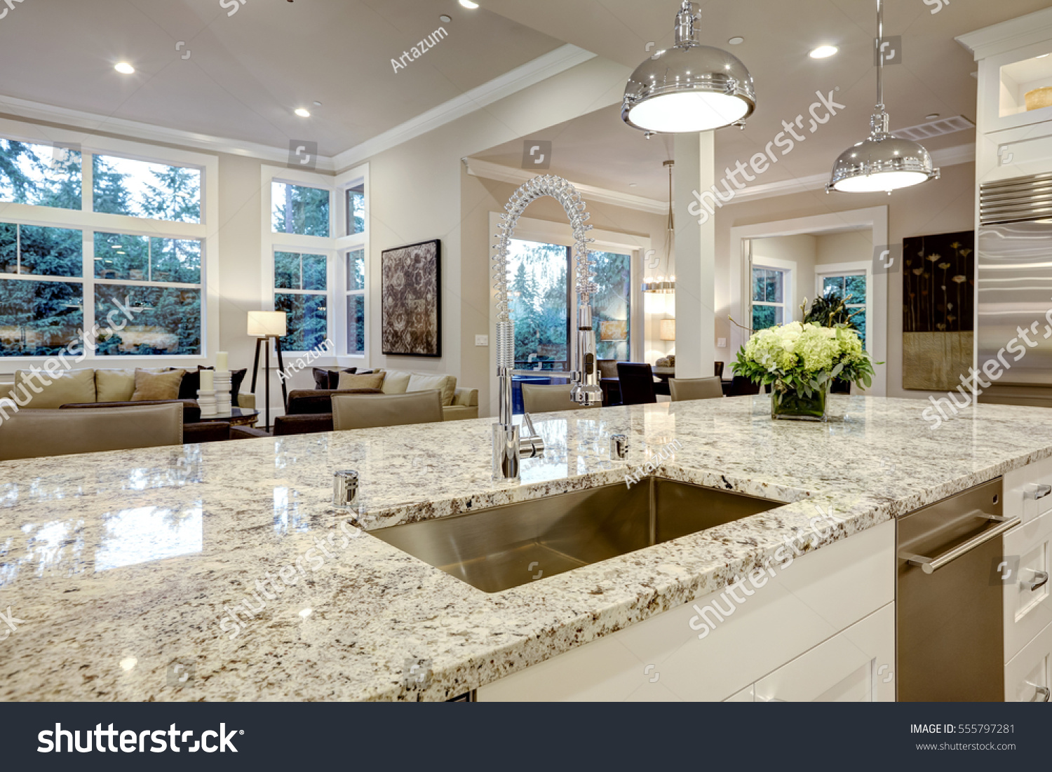 White Kitchen Design Features Large Bar Stock Photo Edit Now 555797281