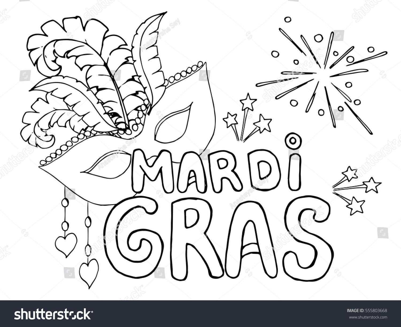 Coloring Page Celebrate Carnival Mardi Gras Stock Vector 555803668 ...