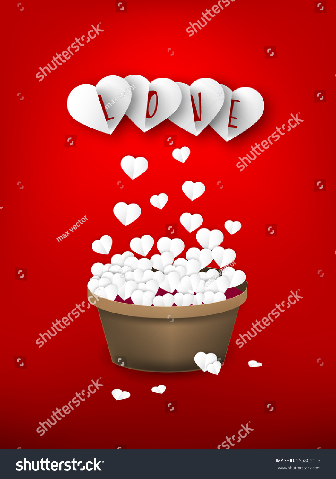 Cut Paper Heart Fly Bin Happy Stock Vector Royalty Free 555805123