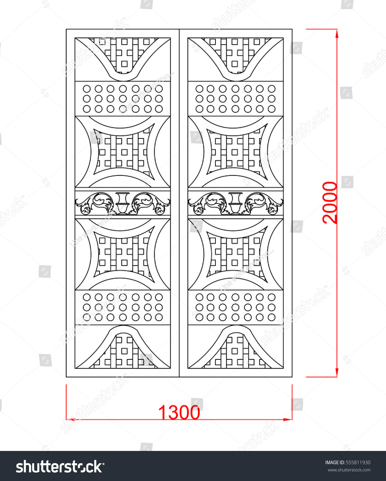 Superior Door Vector Image With Dimension Black Paint In The White Background