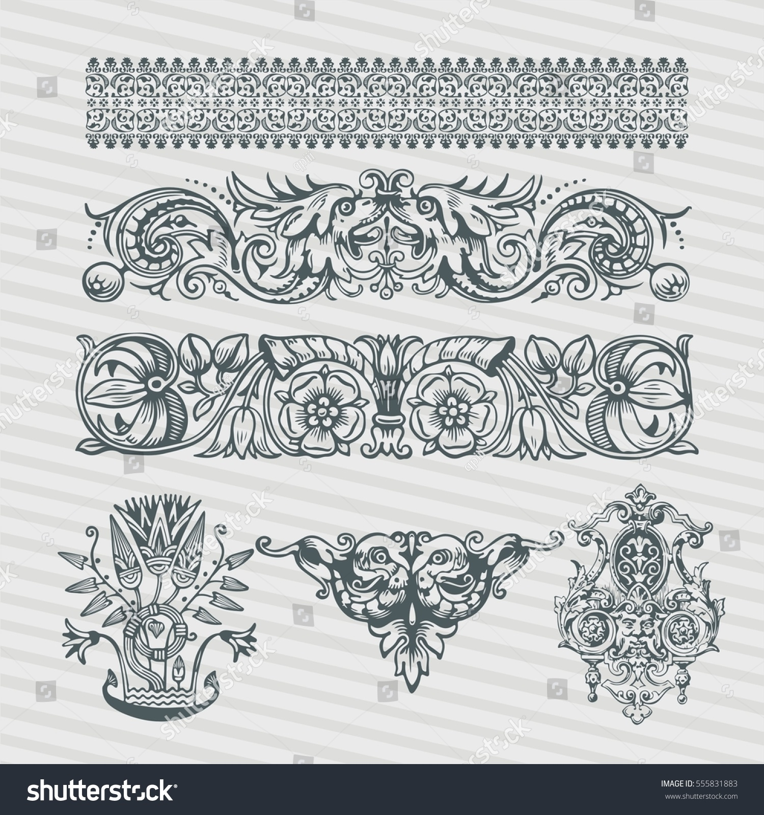 Vector Set Vintage Ornate Frames Retro Stock Vector