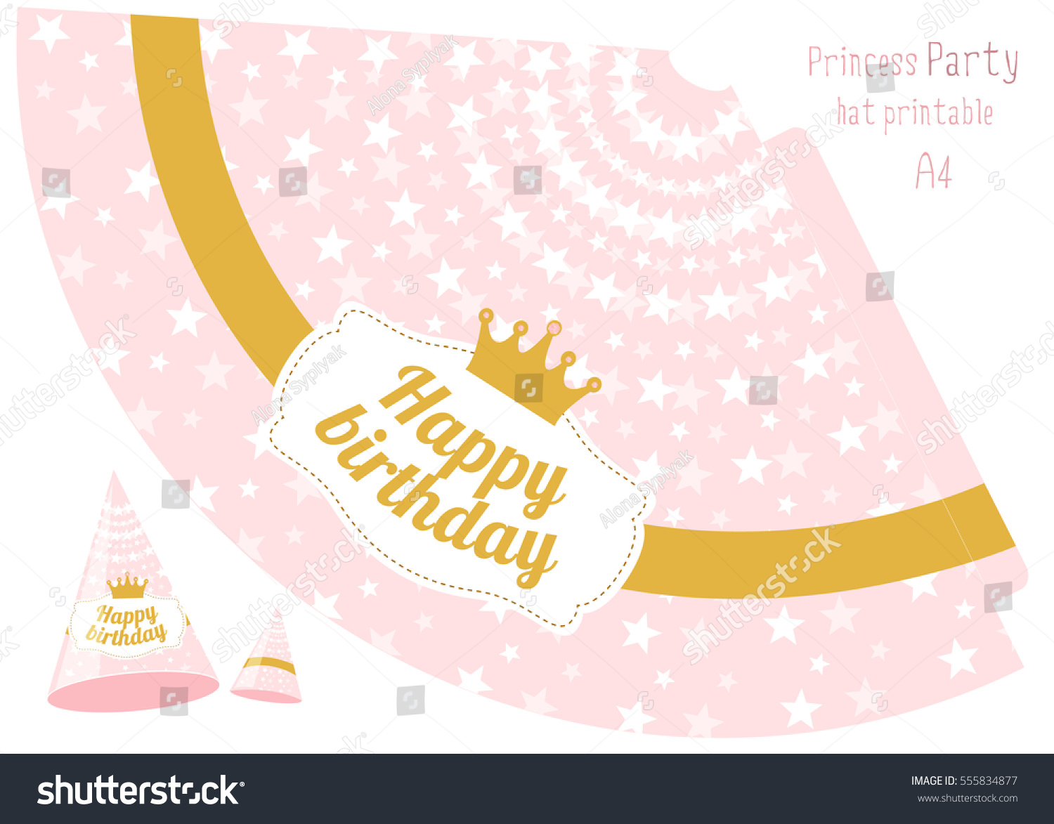 Party Hats V Printable Pink Gold Stock Vector (Royalty Free ...