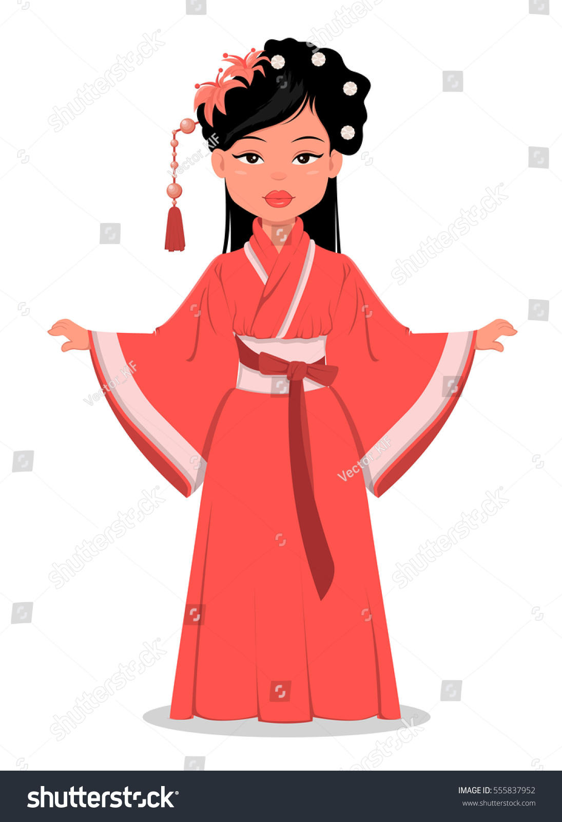 Chinese Cartoon Girl Character Beautiful Traditional Stock
