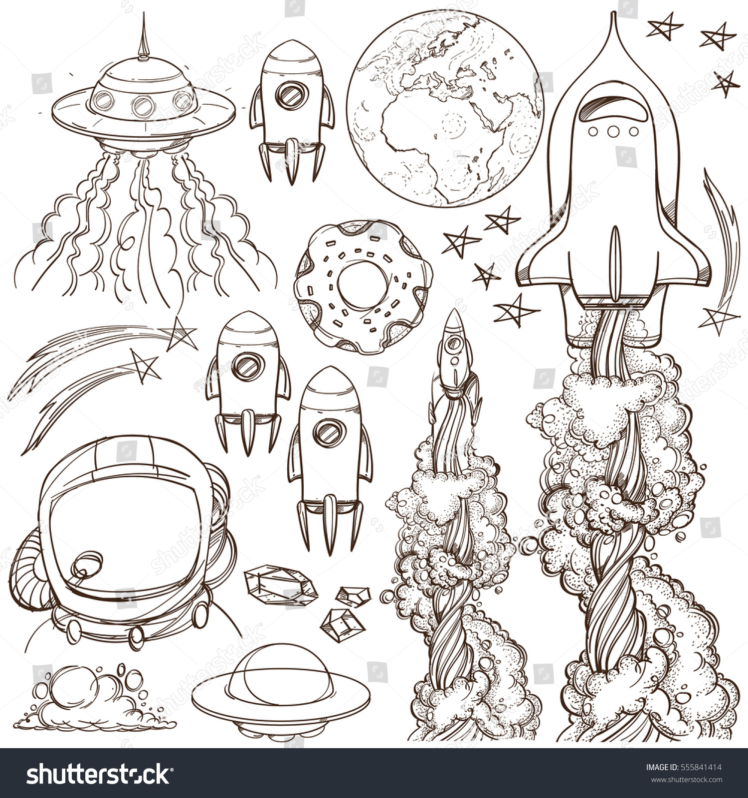 set outline drawing spacecraft different types stock vector