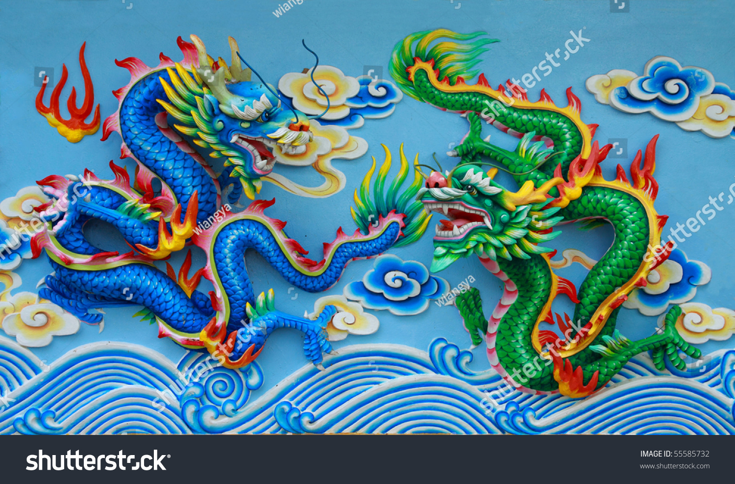 couple chinese dragon statue green blue stock photo 55585732