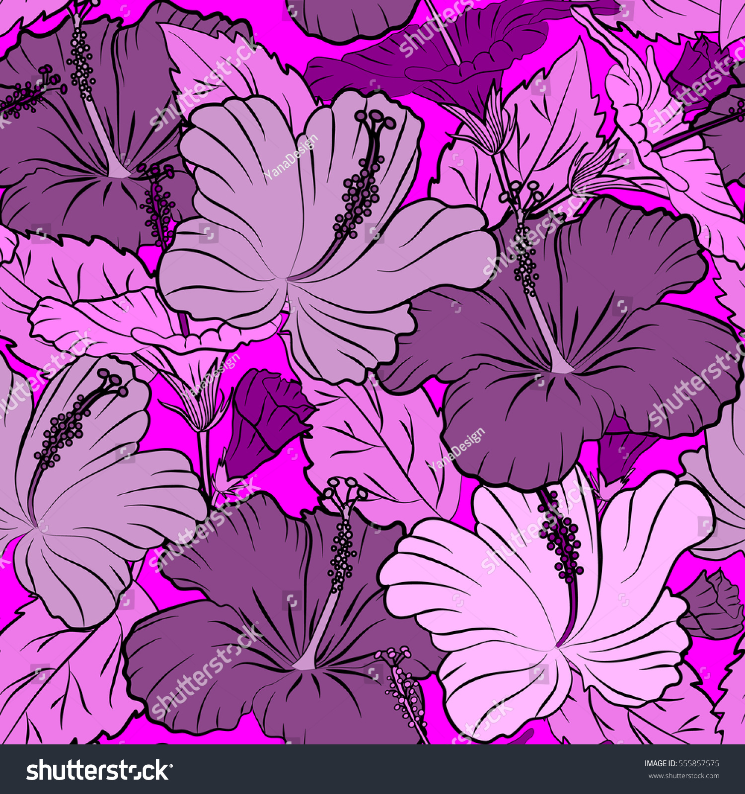 Hibiscus flower and leaves pattern on a magenta background in a id 555857575 izmirmasajfo