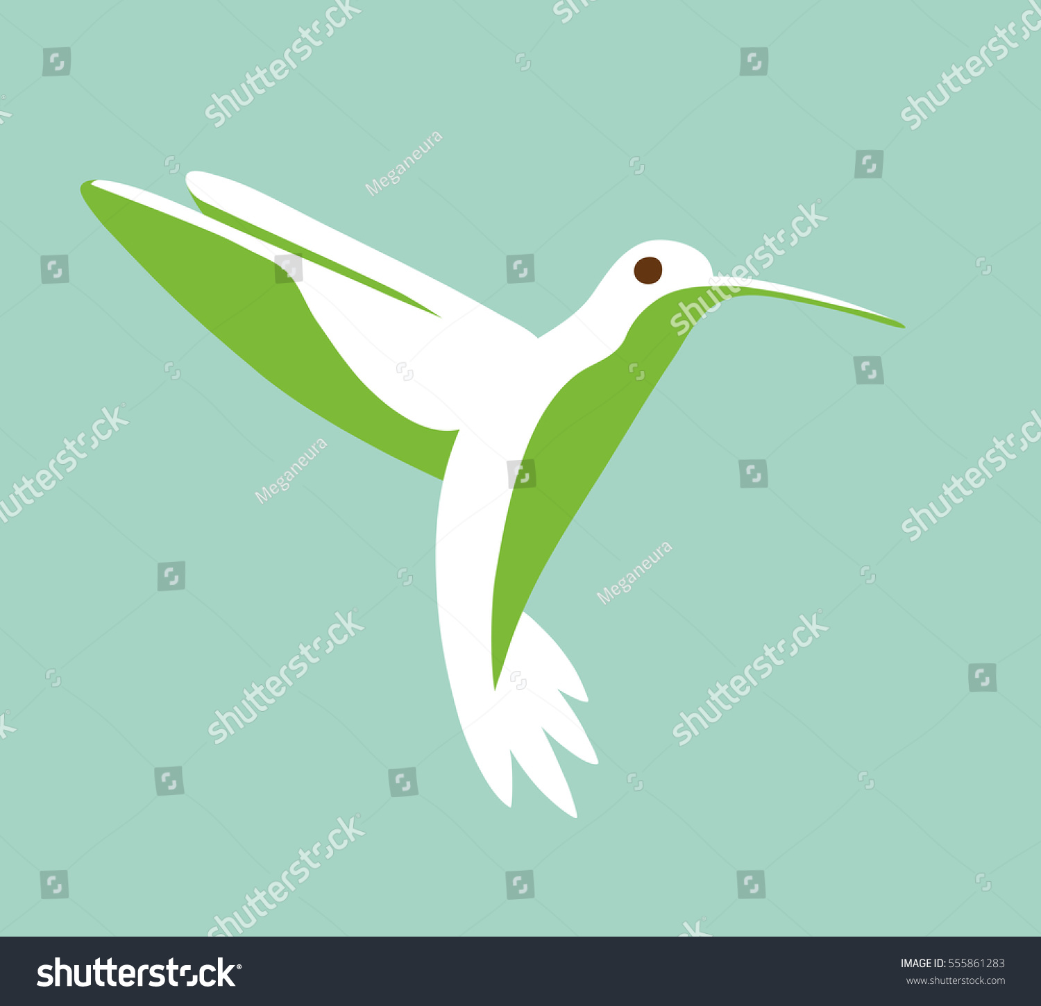 Hummingbird Stylized Simplistic Graphic Symbol Stock Illustration