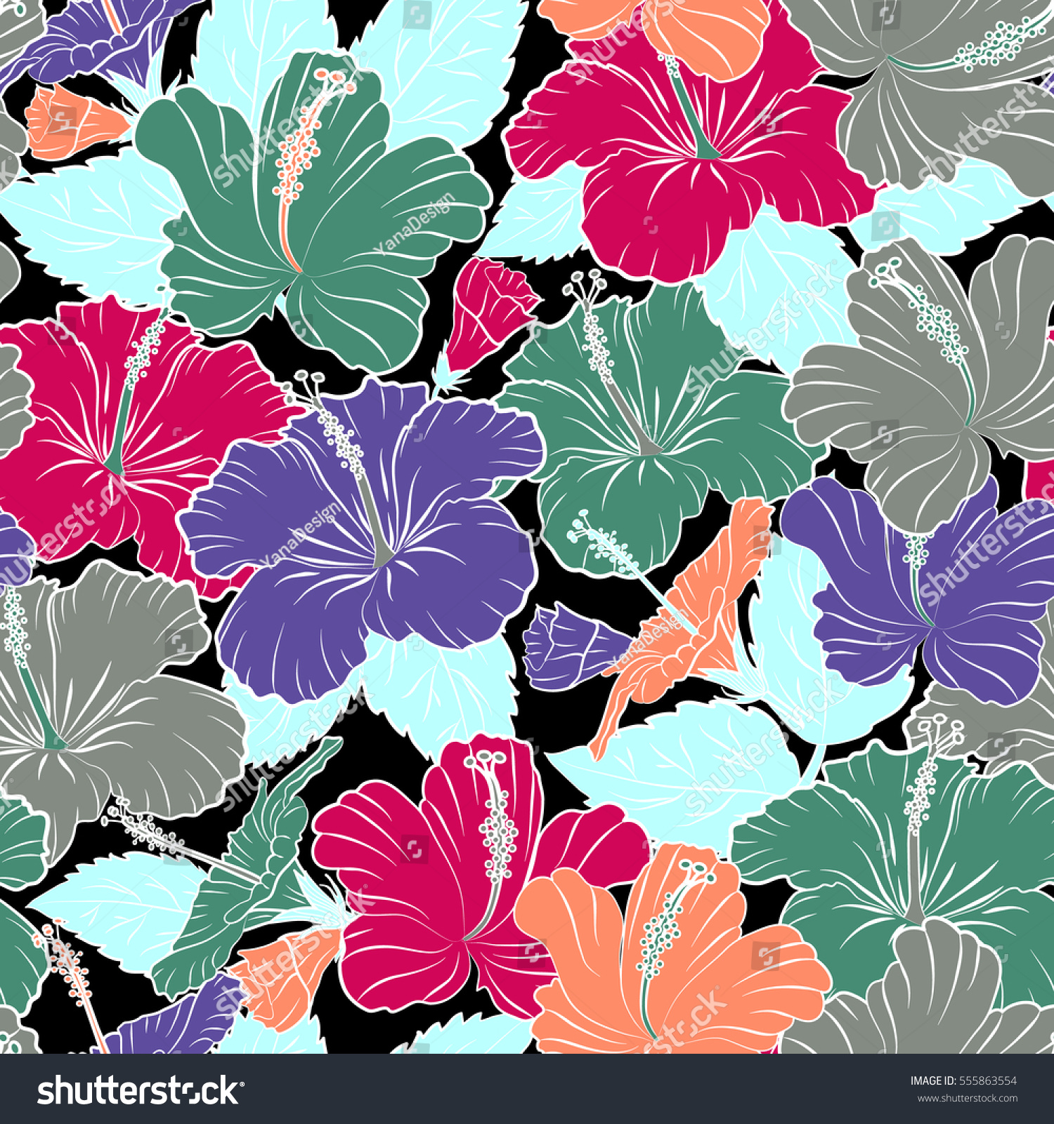 Various Hibiscus Hawaiian Tropical Flowers In Orange And Violet