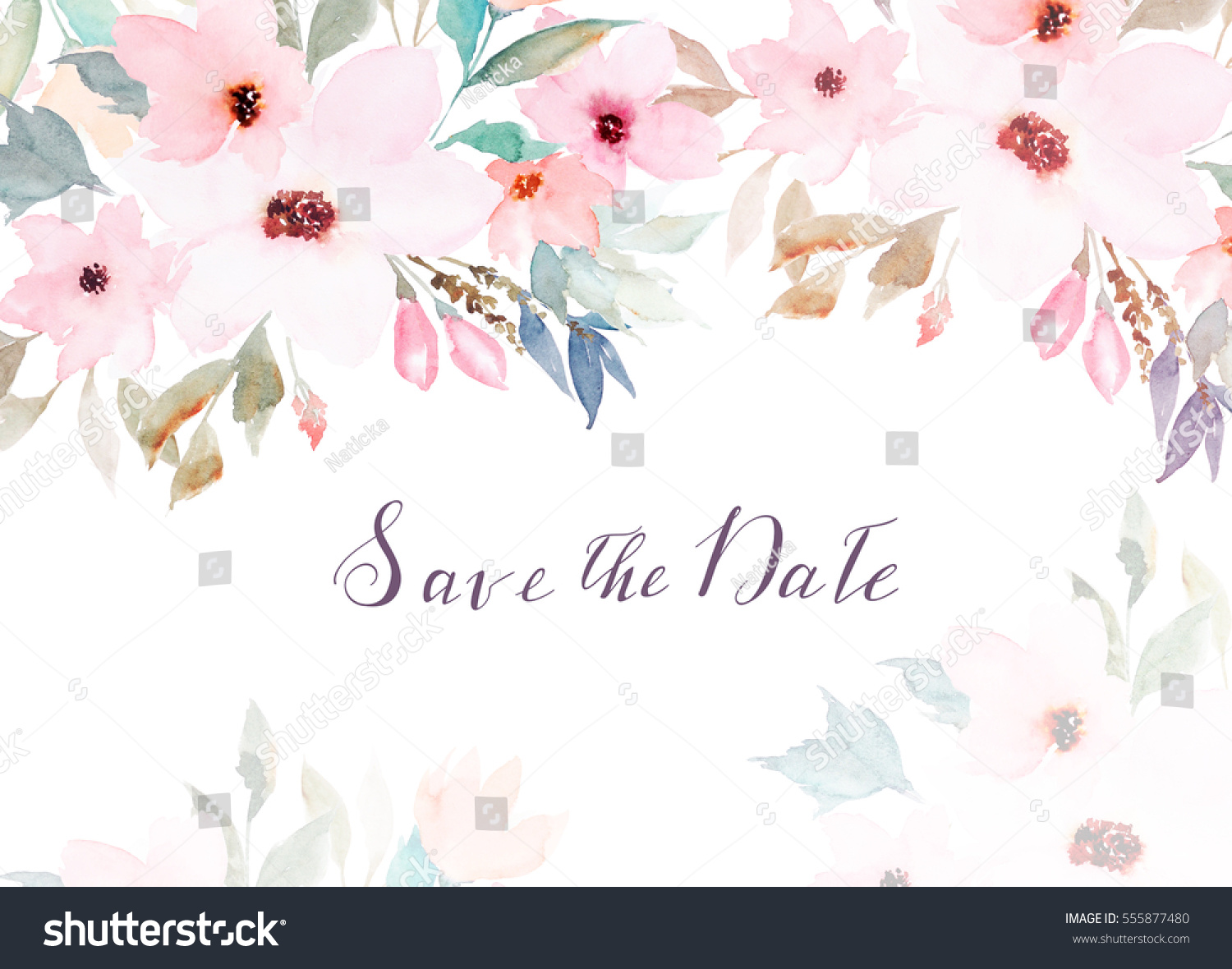Watercolor Floral Template Wedding Cards Invitations Stock ...