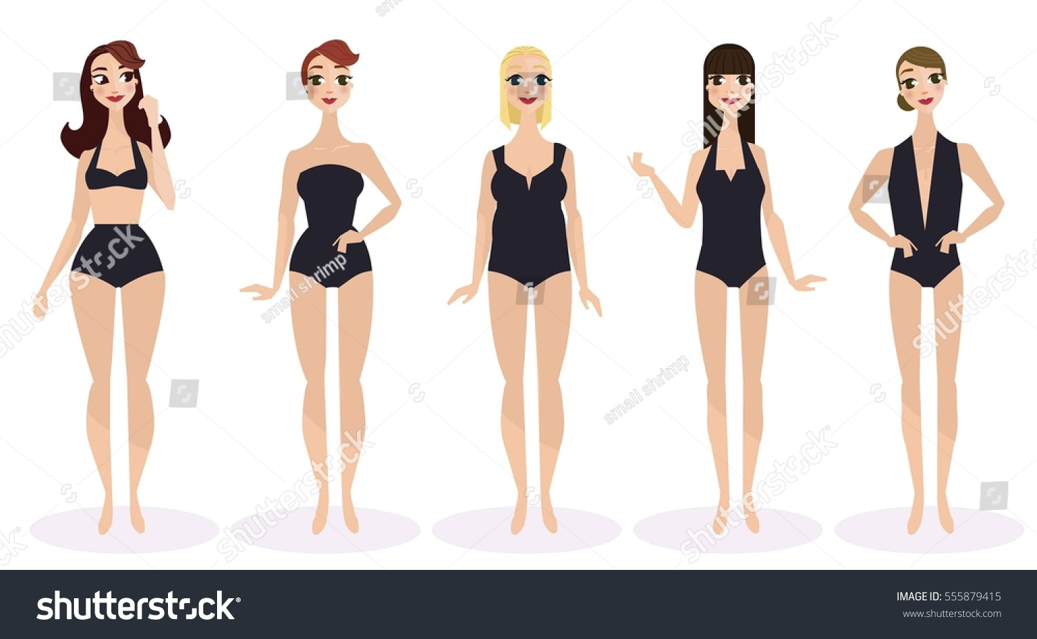 Line Drawing Woman Body : Woman body shapes round triangle rectangle stock vector