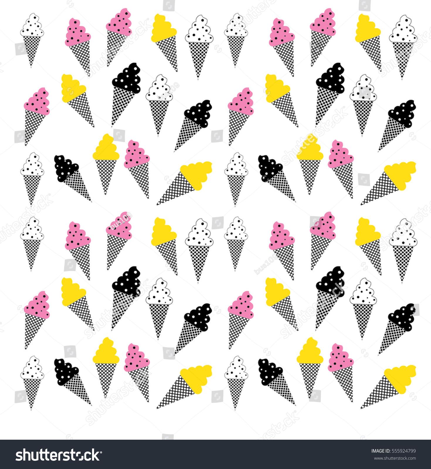 Ice Cream Cones Seamless Pattern Background Stock Vector: Ice Cream Cones Seamless Pattern Vector Stock Vector