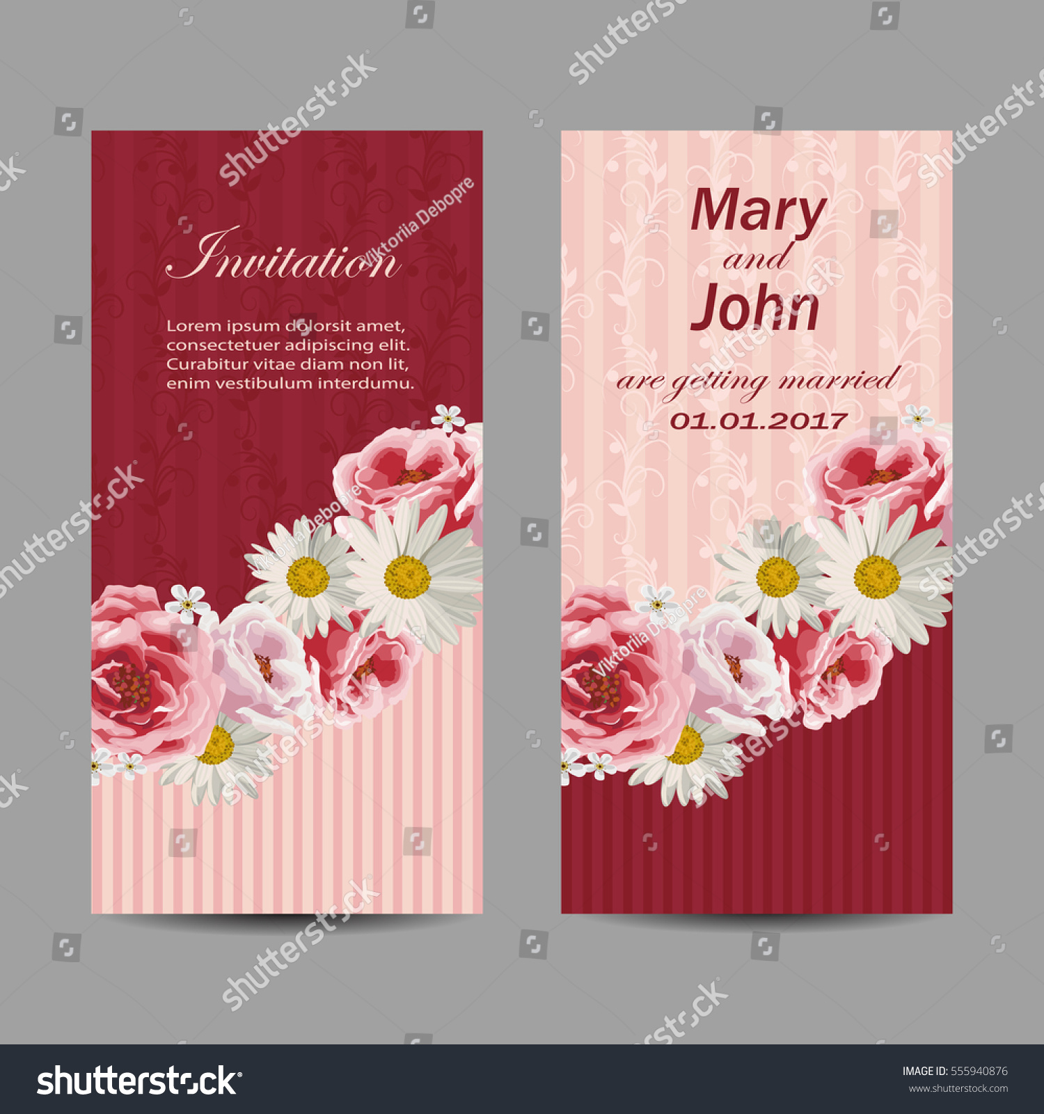 Set Wedding Invitation Cards Design Beautiful Stock Vector (Royalty ...