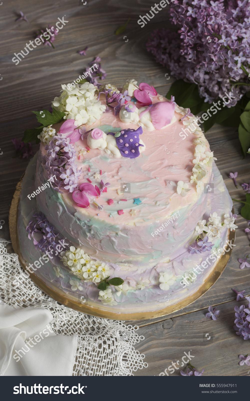 Birthday Cake Newborn Girls Twins Decorated Stock Photo Edit Now