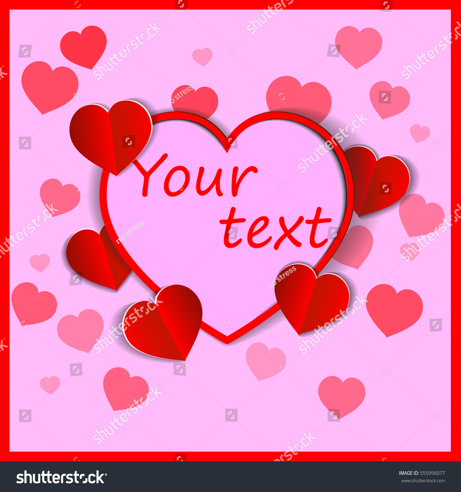 Valentines Day Cute Poster With Hearts And Text Vector Ez Canvas