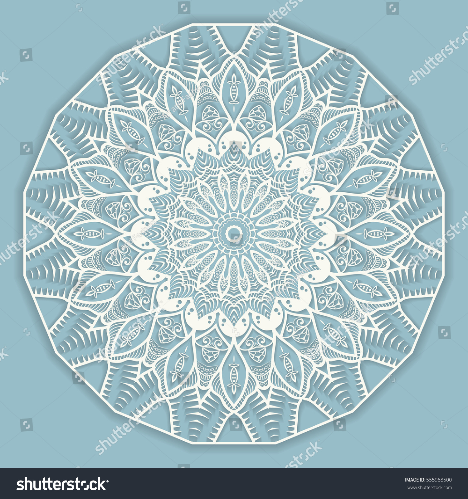 Beautiful Mandala geometric floral round ornament. Decorative isolated ...