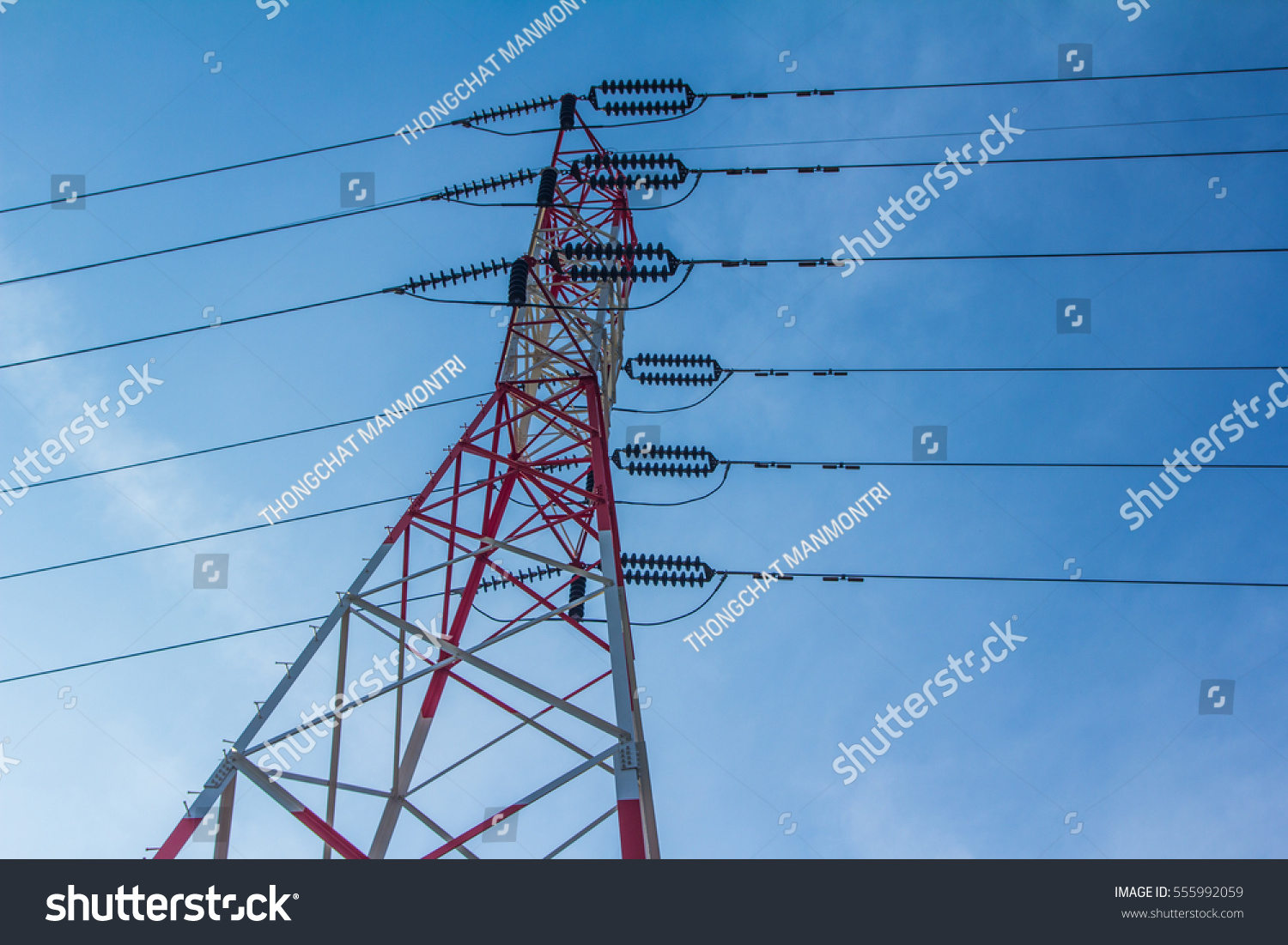 high voltage electric pole with red and white color | EZ Canvas