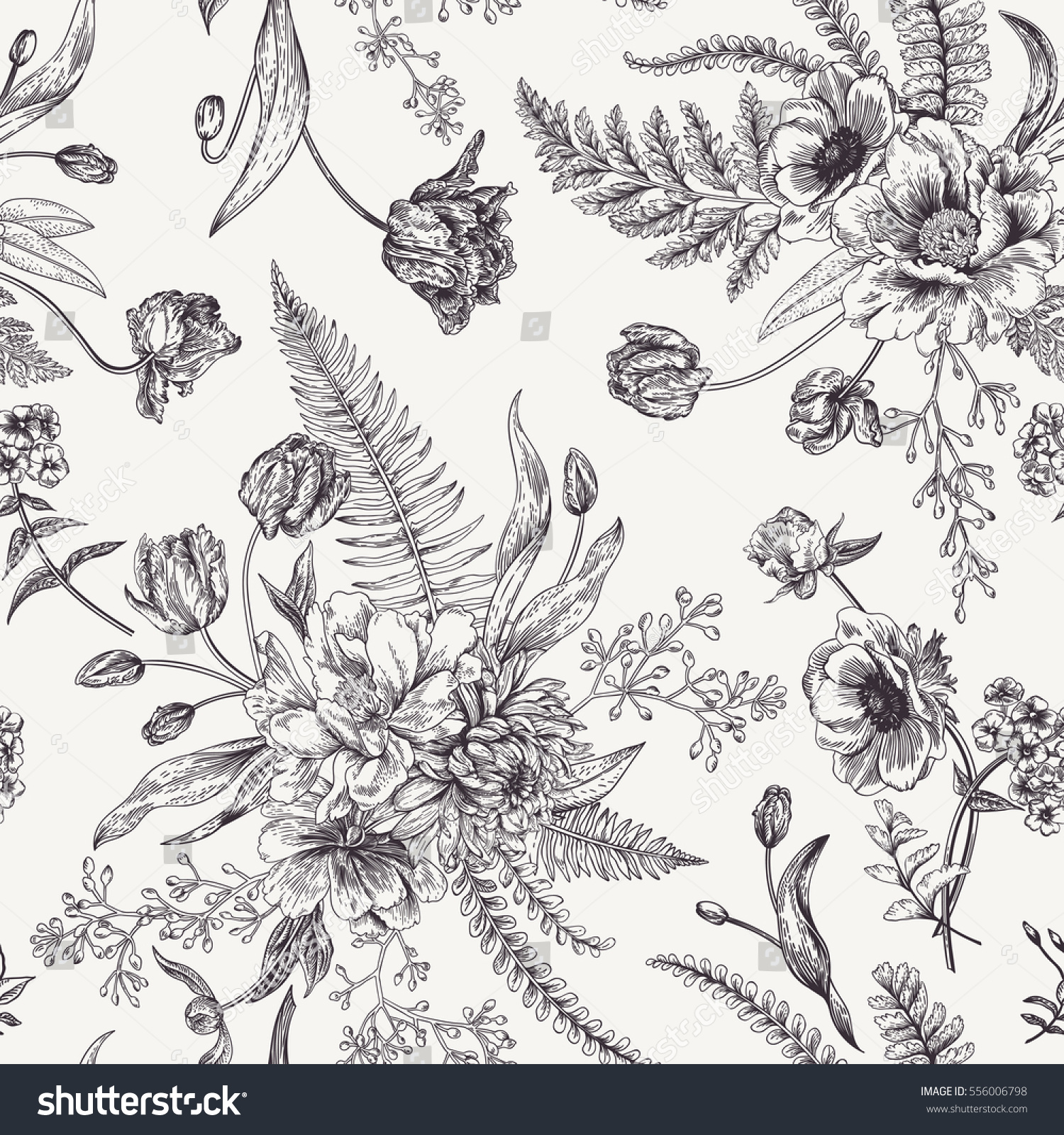 seamless floral pattern bouquets spring flowers stock vector