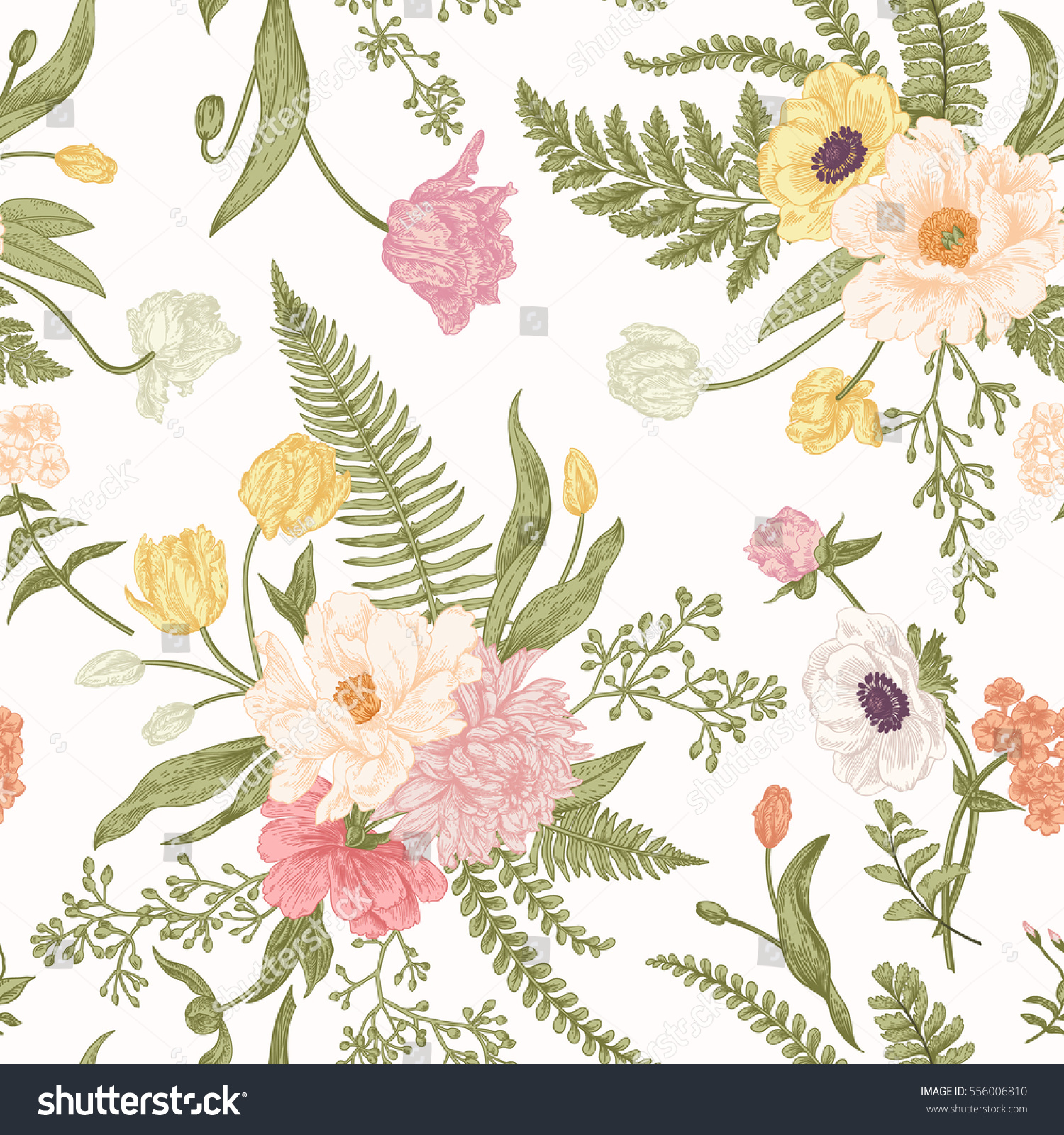 Seamless Floral Pattern Bouquets Spring Flowers Stock Image
