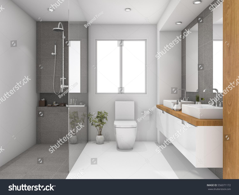 3d rendering minimal wood and stone white bathroom | EZ Canvas