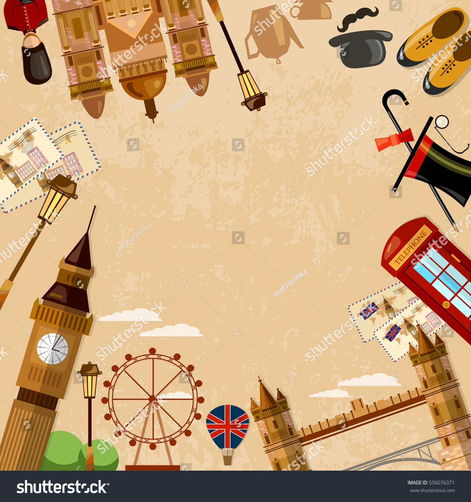 London England Travel Background Welcome Uk Stock Vector