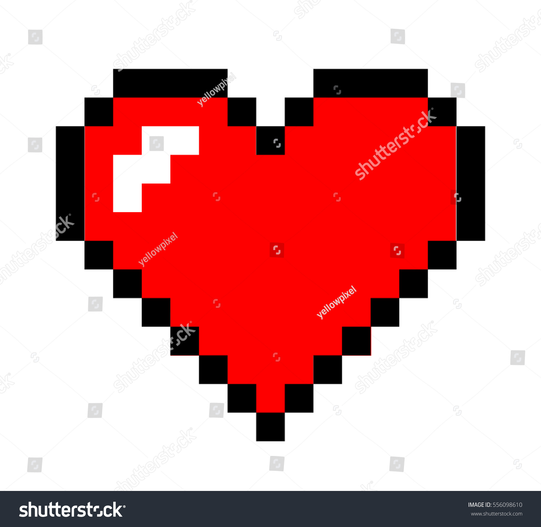 Pixel Art Heart Love Valentine Stock-Vektorgrafik 556098610 ...
