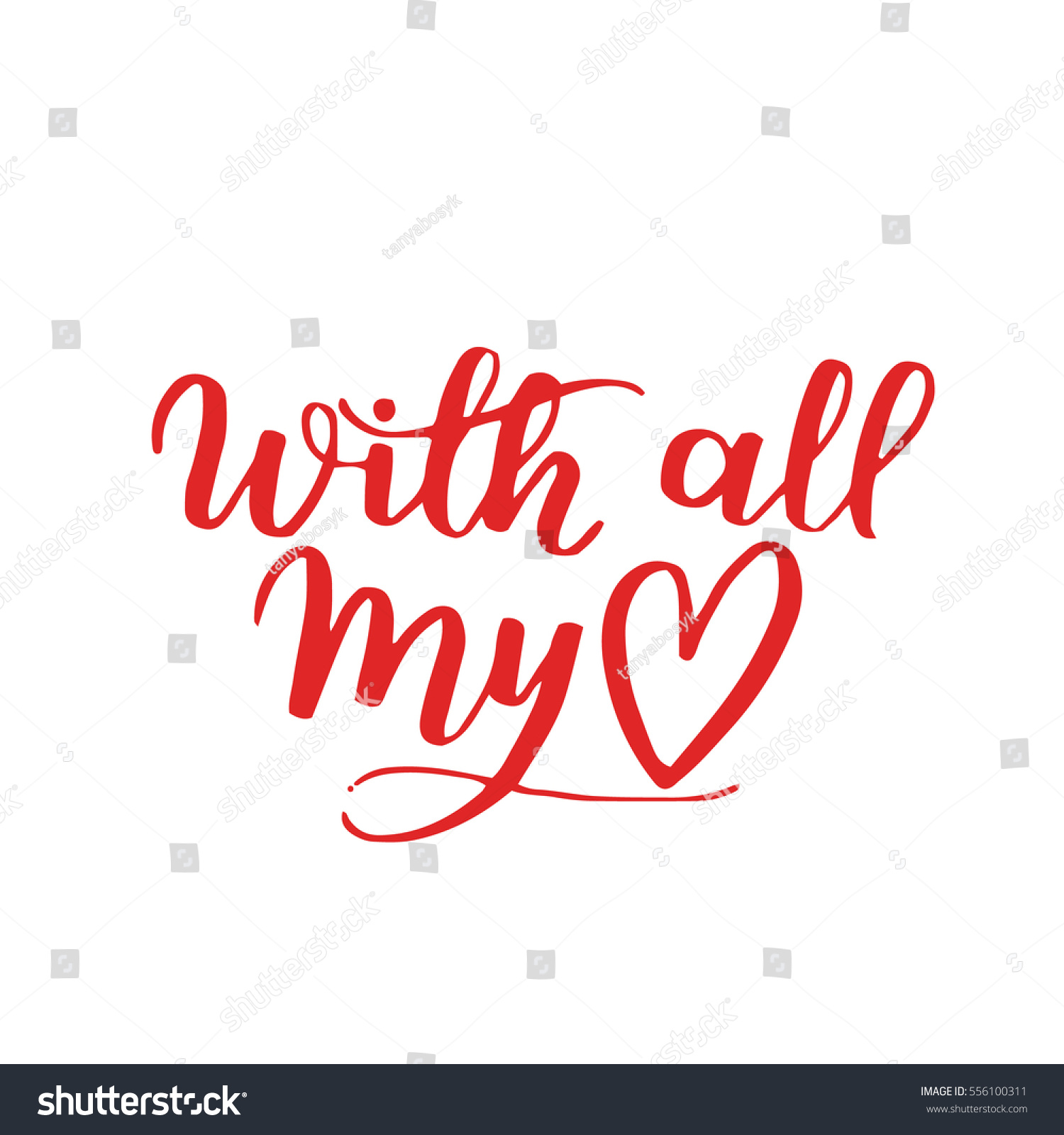 Handwritten Lettering Quote About Love Valentines Stock Vector HD ...