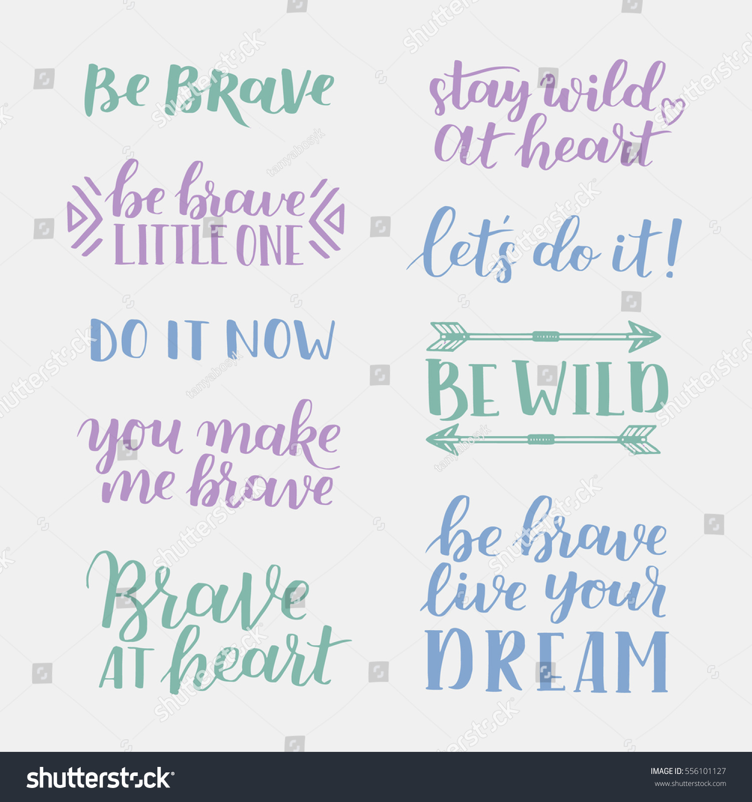 Quotes About Courage Set Hand Drawn Quotes About Courage Stock Vector 556101127