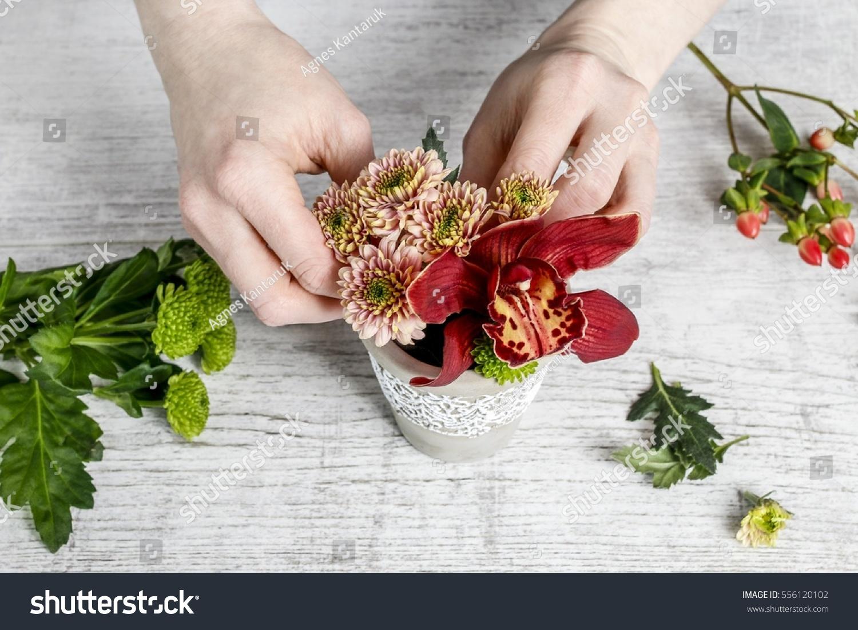 Florist Work How Make Floral Arrangement Stock Photo Edit Now
