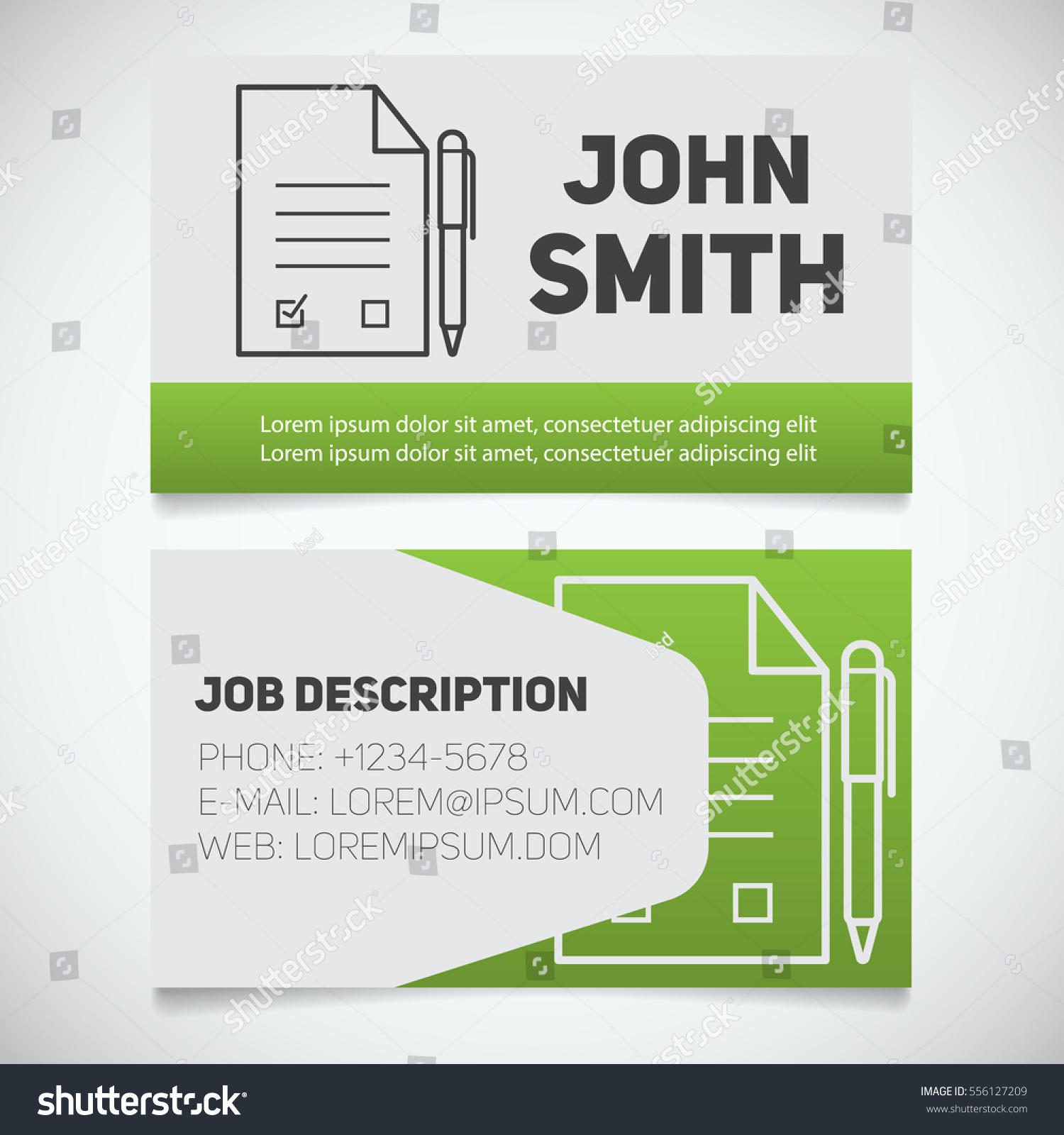 Business Card Print Template Signed Contract Stock Vector ...