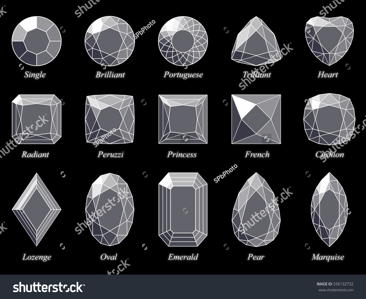 Set fifteen various diamond cut shape stock illustration 556132732 set of fifteen various diamond cut shape and design diagrams with their names top view ccuart
