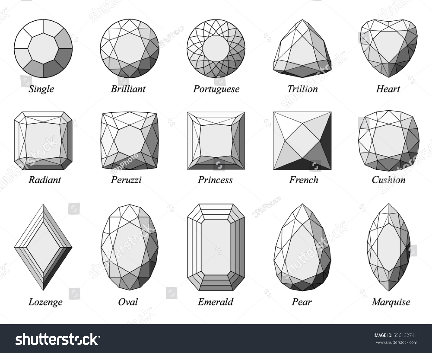 Set fifteen various diamond cut shape em ilustrao stock 556132741 set of fifteen various diamond cut shape and design diagrams with their names top view ccuart Gallery