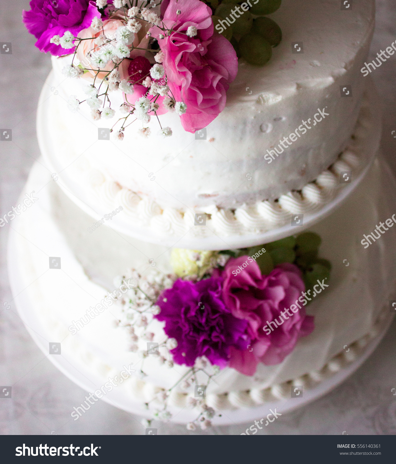 Closeup White Wedding Cake Flowers On Stock Photo Edit Now