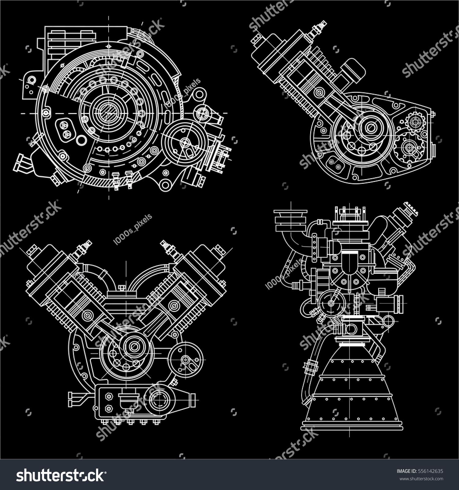 Set Drawings Engines Motor Vehicle Internal Stock Vector 556142635 ...