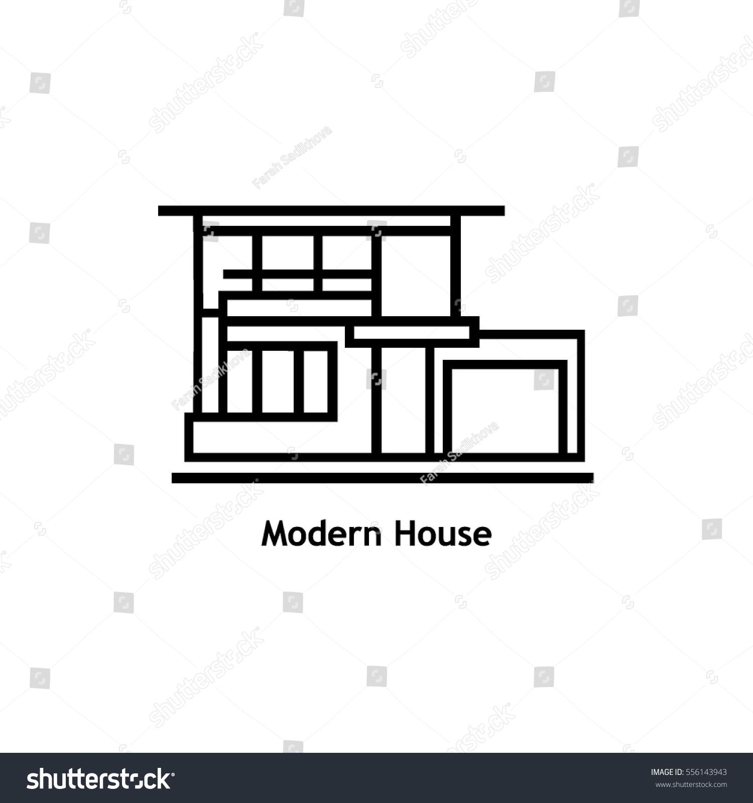 Modern house mansion residence line illustration stock for Modern house real estate
