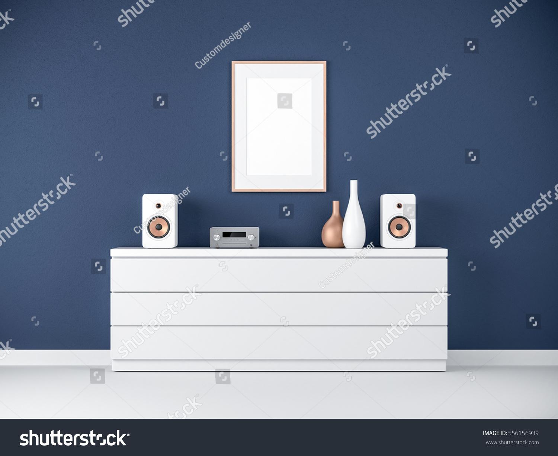 Poster Frame Mockup On Bureau Modern Stock Illustration 556156939