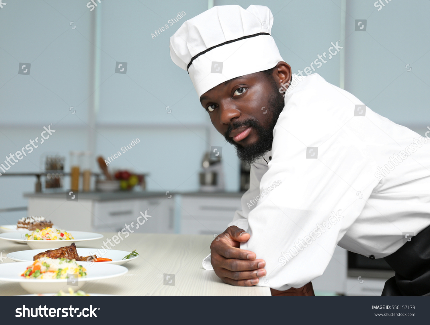 African American Chef Tasty Dishes Kitchen Stock Photo (Edit Now ...